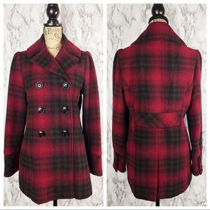 STEVE MADDEN Red & Black Plaid Peacoat Medium